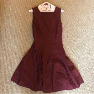 Theory Sleeveless Linen Dress Sz 10 Maroon